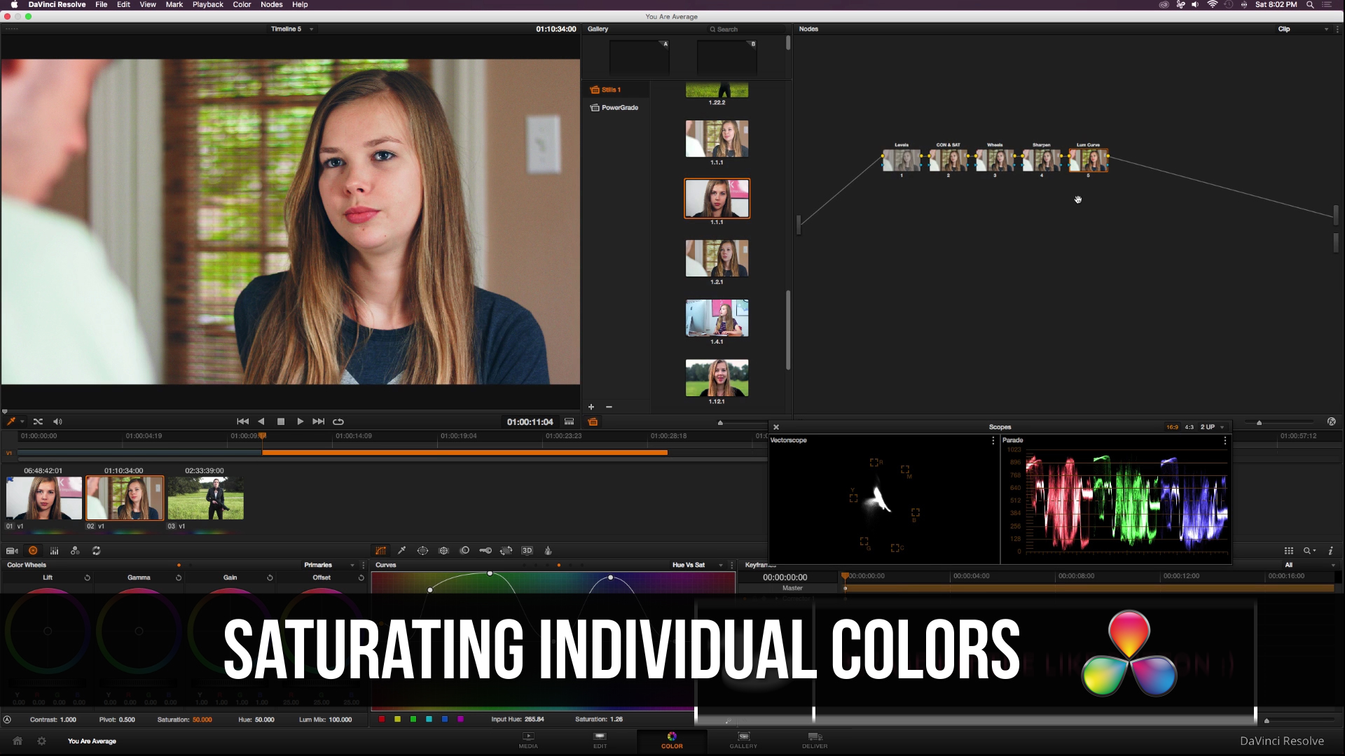 DaVinci Resolve Saturating Different Hues