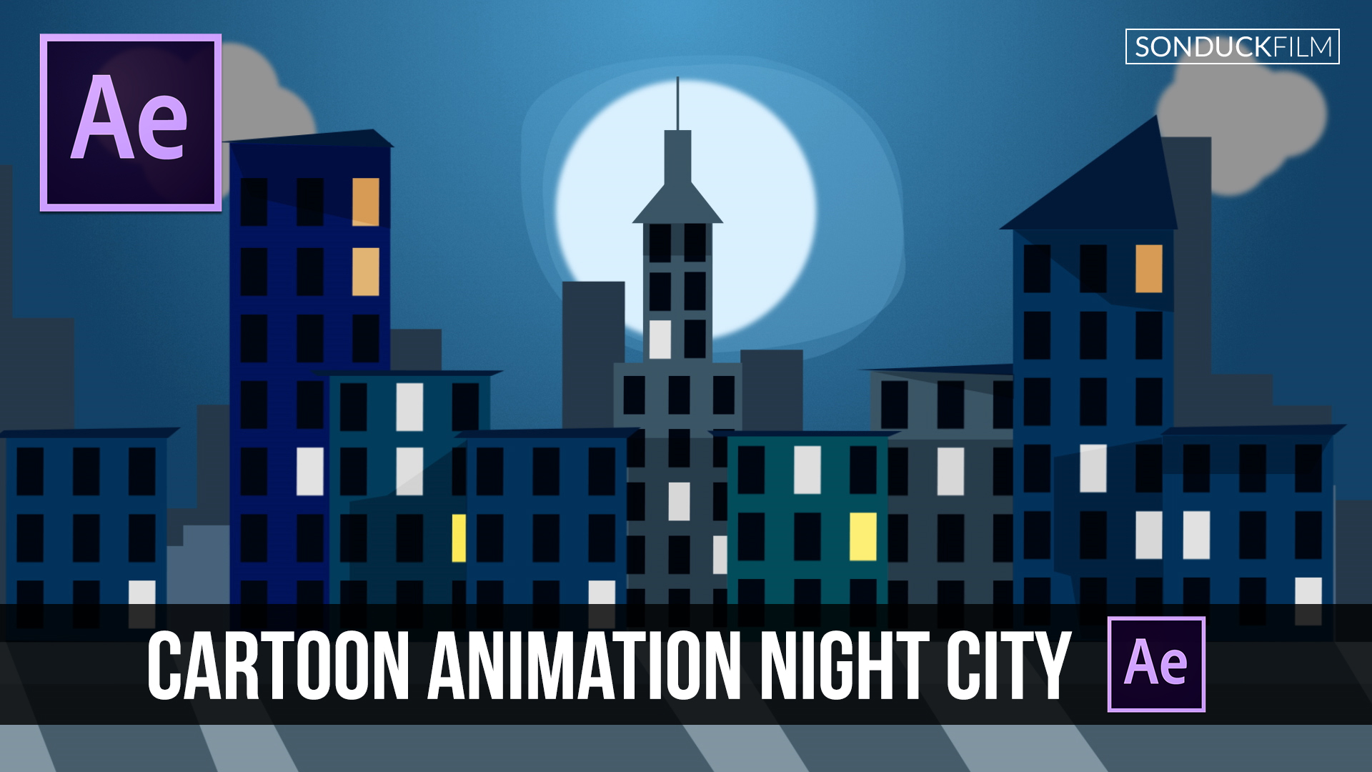 Animated Cartoon Night City in Adobe After Effects ...