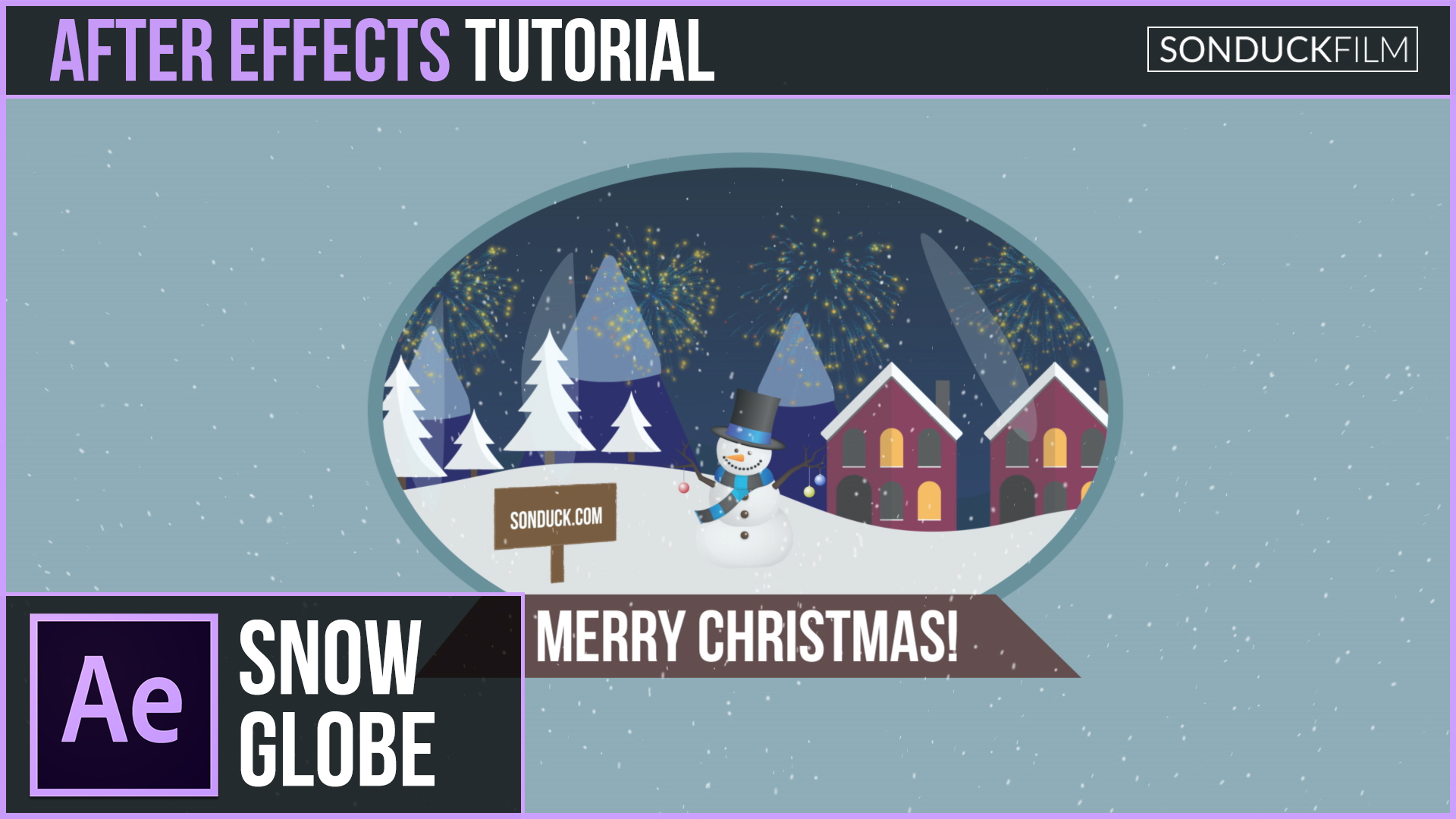 After Effects Tutorial: 2D SNOW GLOBE - Christmas Motion